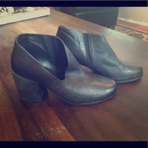 NWOT Free People black leather cut-out booties